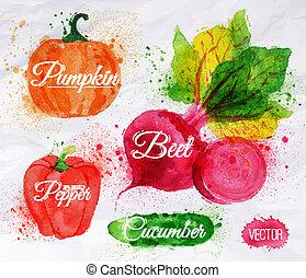 Vegetables watercolor corn, broccoli, chili,...