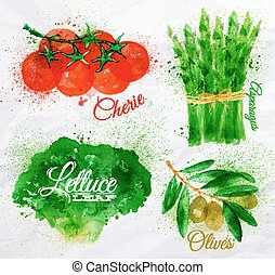Vegetables watercolor lettuce, cherry tomatoes, asparagus,...
