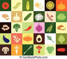Vegetables web icon set - Food background vector. Organic...