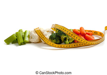 Vegetables with a measuring tape