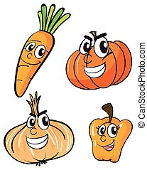 Vegetables with facial expressions