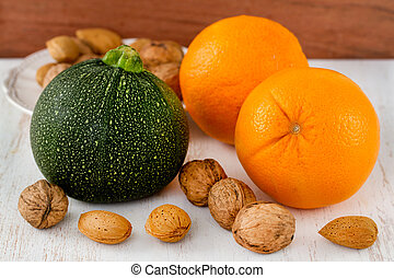 vegetables with fruits and nuts
