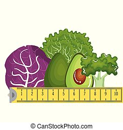 vegetables with tape measure