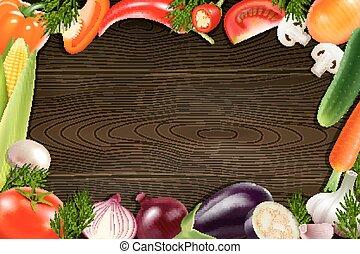 Vegetables Wooden Background