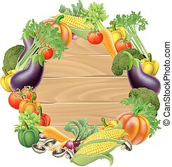 Vegetables Wooden Sign - A wooden sign background surrounded...