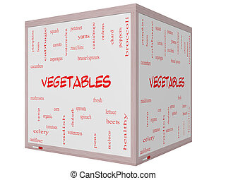 Vegetables Word Cloud Concept on a 3D cube Whiteboard