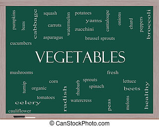 Vegetables Word Cloud Concept on a Blackboard