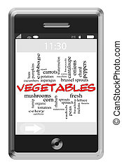 Vegetables Word Cloud Concept on Touchscreen Phone