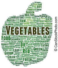 Vegetables word cloud shape