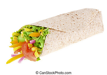 Vegetables wrap. Corn, lettuce and tomato, isolated on white...