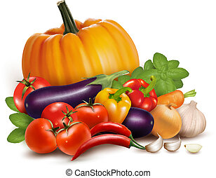 vegetables., zdrowy, ilustracja, jadło., wektor, świeży