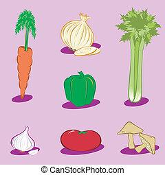 vegetal, ícones, 1
