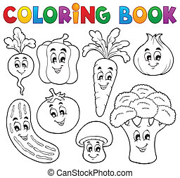 vegetal, 1, tema, libro colorear