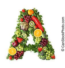 vegetal, alfabeto, fruta
