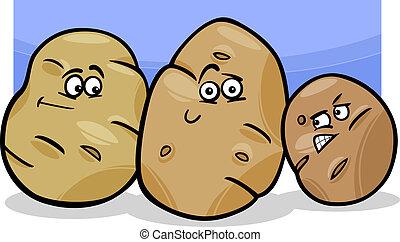 vegetal, batatas, caricatura, ilustração