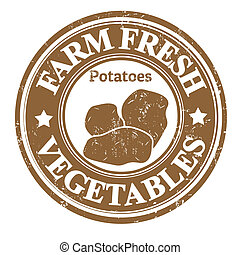 vegetal, batatas, selo, ou, etiqueta