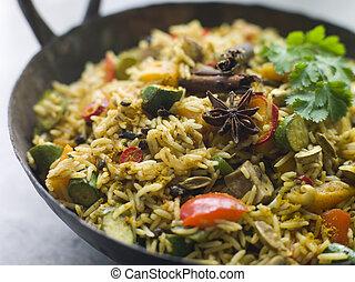 vegetal, biryani, en, un, grande, karahi