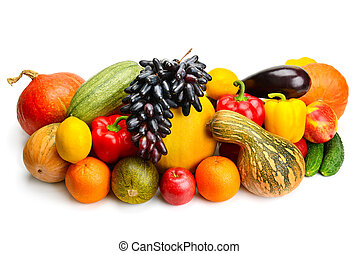 vegetal, blanco, fruta, aislado, plano de fondo