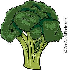 vegetal, bróculi, ilustración, caricatura
