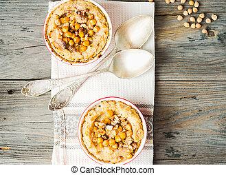 vegetal, casserole, com, cogumelos, chickpeas, e, nozes