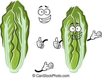 vegetal, col, caricatura, chino, feliz