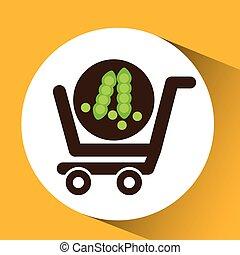 vegetal, compra, ervilha, carreta, ícone