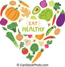 vegetal, corazón, con, coma sano, señal