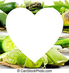 vegetal, corazón, rebanadas
