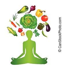 vegetal, dieta, e, meditação