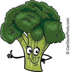 vegetal, divertido, bróculi, ilustración, caricatura