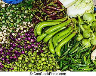 vegetal, en, mercado de comida