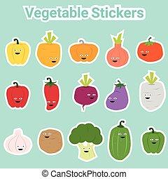 vegetal, engraçado, jogo, adesivos