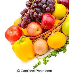 vegetal, fondo., blanco, aislado, fruits
