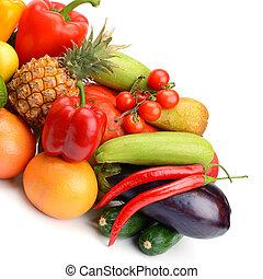 vegetal, fondo., blanco, fruta, aislado