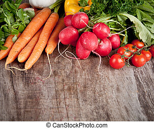 vegetal, fresco, tabela madeira