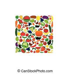 vegetal, fruta, ilustração