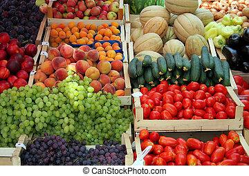 vegetal, fruta, mercado