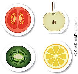 vegetal, fruta, pegatinas