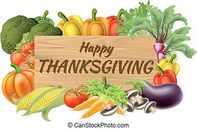 vegetal, frutas, produto, ação graças, sinal