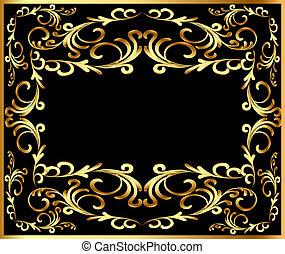 vegetal, gold(en), quadro, fundo