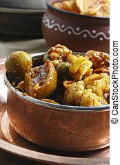 vegetal, india, mezclado, salmuera