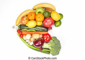 vegetal, isolated., fruta, corazón