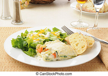 vegetal, lasanha, salada