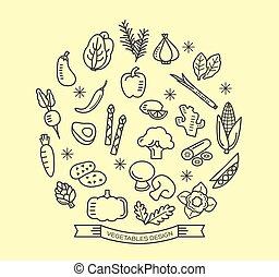 vegetal, linha, ícones, com, esboço, estilo, projete elementos