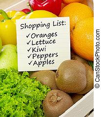 vegetal, lista, compras, fruits