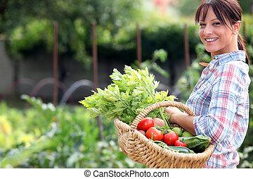 vegetal, mujer, jardín, ella