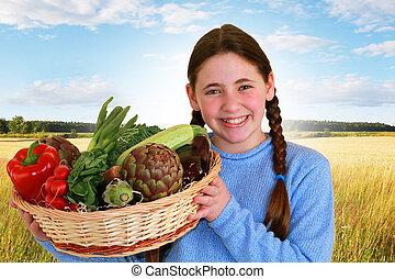vegetal, niña, algunos