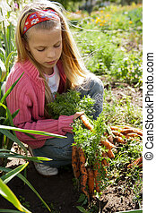 vegetal, niña, jardín