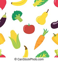 vegetal, padrão, em, apartamento, vetorial, style., luminoso, saudável, orgânica, alimento.
