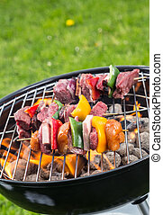 vegetal, parrilla, carne, delicioso, brocheta